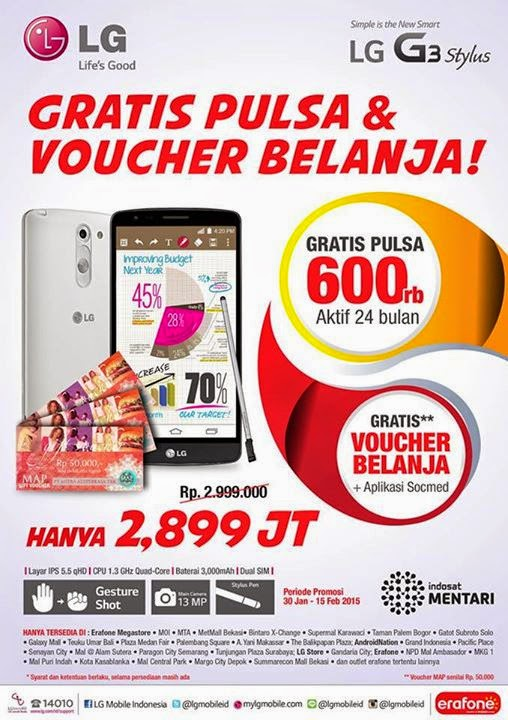 LG G3 Stylus Promo Bonus Pulsa dan Voucher Belanja