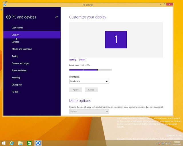 Screenshot tampilan antarmuka Windows 9