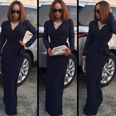 Photos: Toke Makinwa steps out in a lovely wrap dress