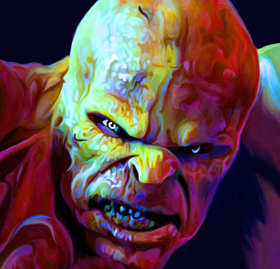06-The-Creature-Fantastic-4-Nicky-Barkla-Psychedelic-Celebrity-Portrait-Paintings-www-designstack-co