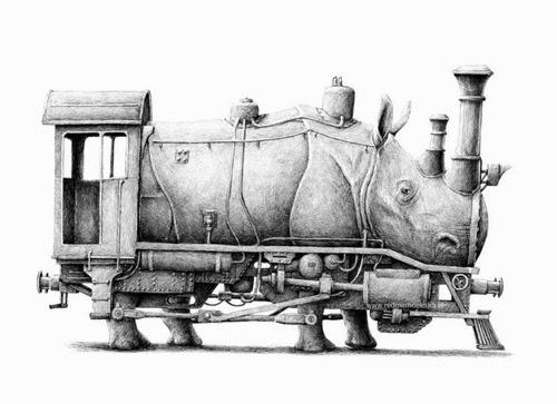 04-Rhino-Train-Redmer-Hoekstra-Surreal-Animals-Ink-Drawings-www-designstack-co