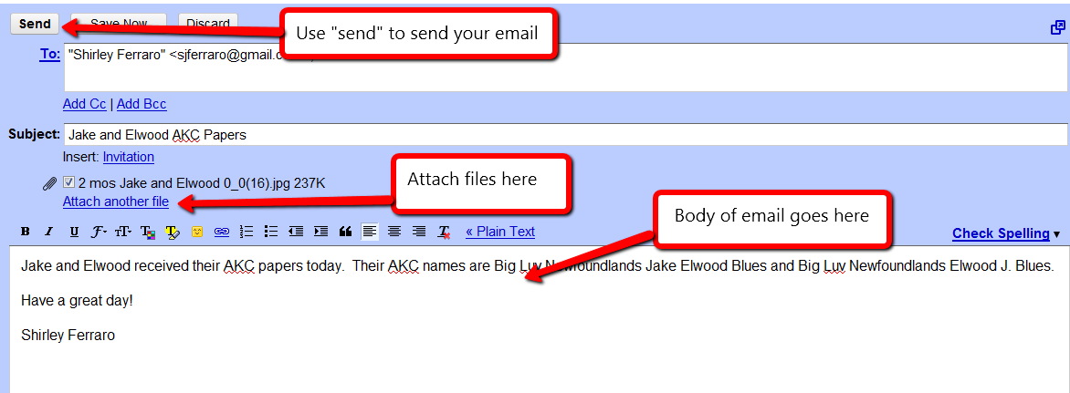 how to send my email to my document folder