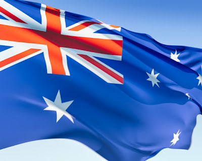 The Australian National flag, replete with Union Jack in the top-left corner