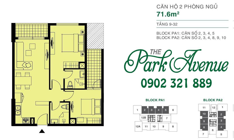 THE PARK AVENUE: Mặt bằng căn hộ 2 PN - 71.6m²
