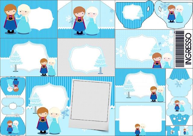 Frozen Niñas en Navidad: Invitaciones para Imprimir Gratis.