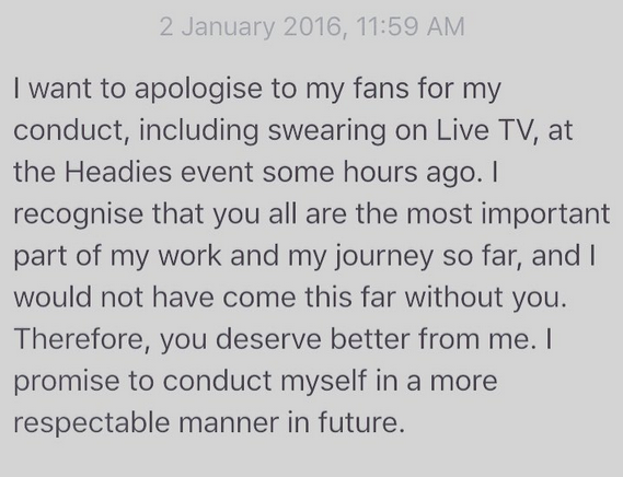 Headies: Olamide apologizes to Fans for his conduct at Headies Awards last night