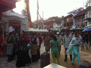 walking around boudhanath stupa