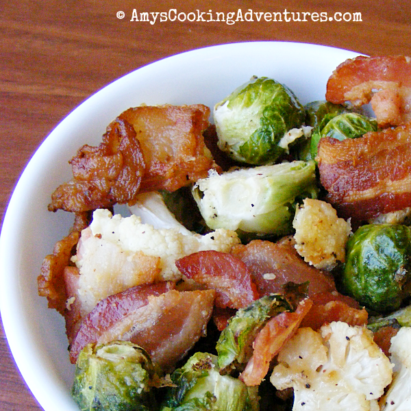 Roasted Brussels Sprouts & Cauliflower with Bacon