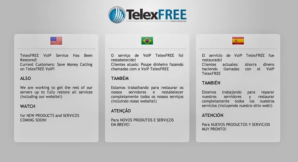 O serviço de VoIP TelexFREE foi restabelecido! Clientes atuais: Poupe dinheiro fazendo chamadas com o VoIP TelexFREE