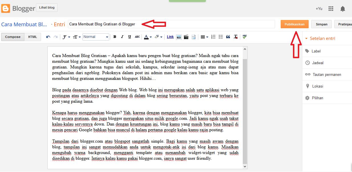 Cara Membuat Blog Gratisan di Blogger