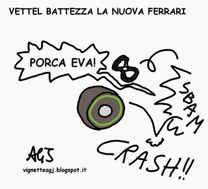 Ferrari, Vettel, Sport, umorismo , vignetta