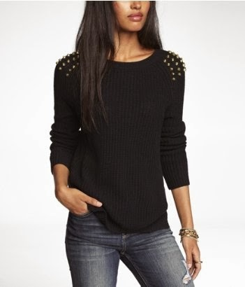Express studded side slit shaker knit sweater