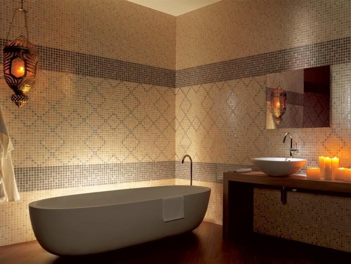 Baños Azulejos Beige:Los cuartos de baño decorados en marrón y beige son modernos y
