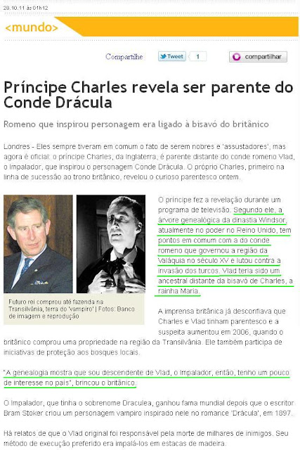 Príncipe Charles revela ser parente do satanista Conde Drácula. Linhagem babilônica de William é confirmada