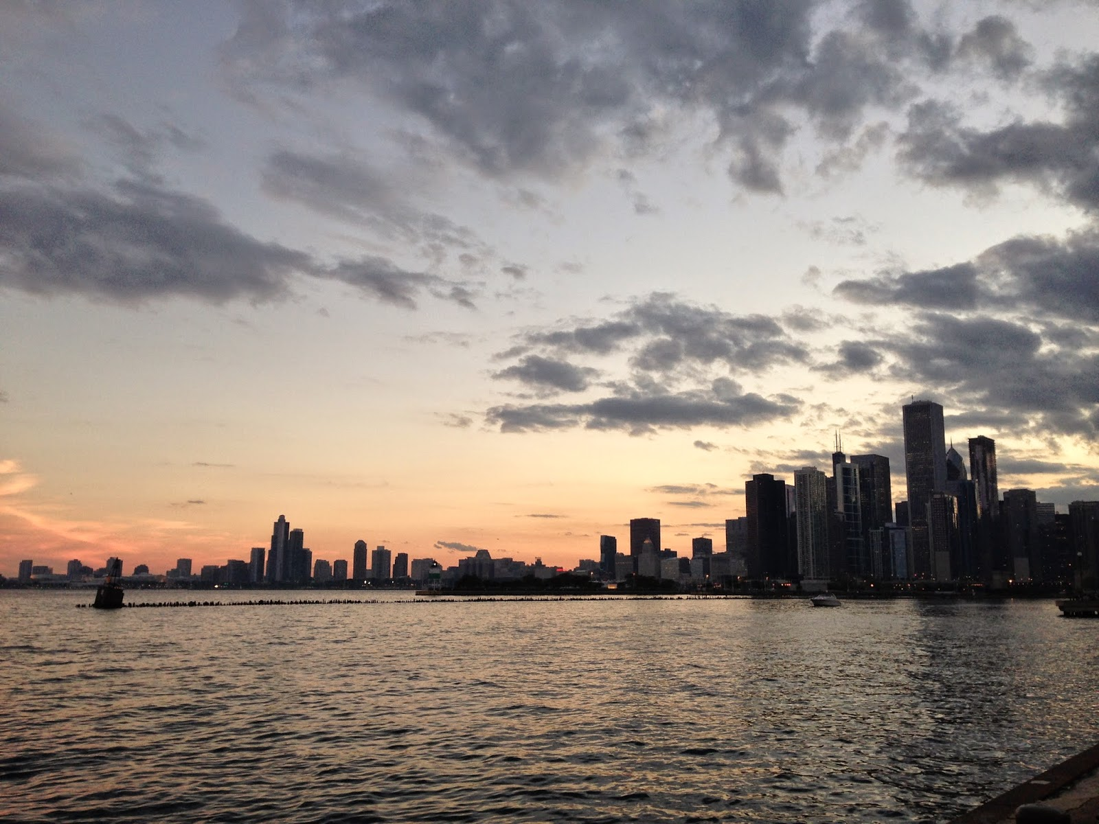 Sunset Skyline Navy Pier Chicago