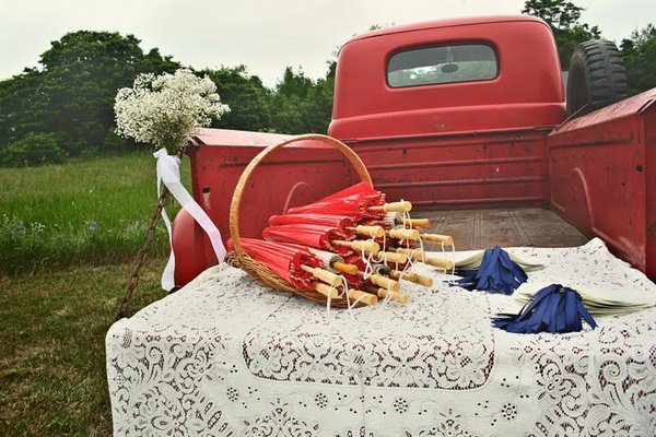 old red truck, antique cars at weddings, baby's breath bouquet
