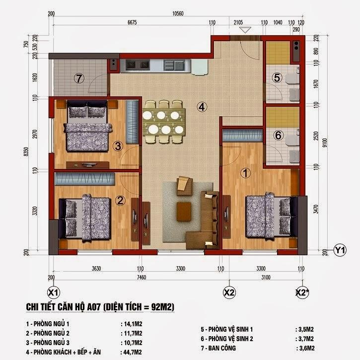 Chung cư 283 Khương Trung, Căn A7, Căn A10, diện tích 92m2