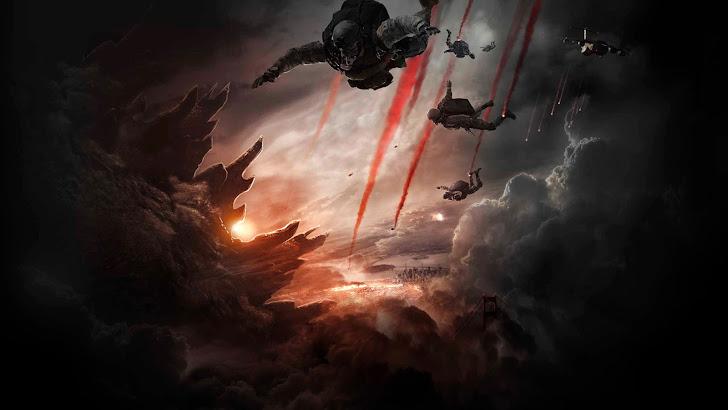 godzilla 2014 movie hd. military skydiving