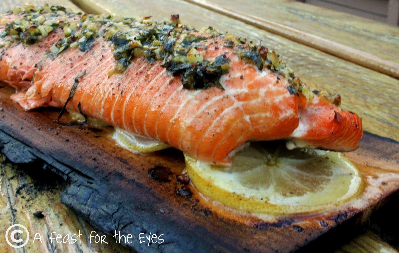 Feast for the Eyes: Cedar Plank Grilled Salmon With Tarragon Herbs