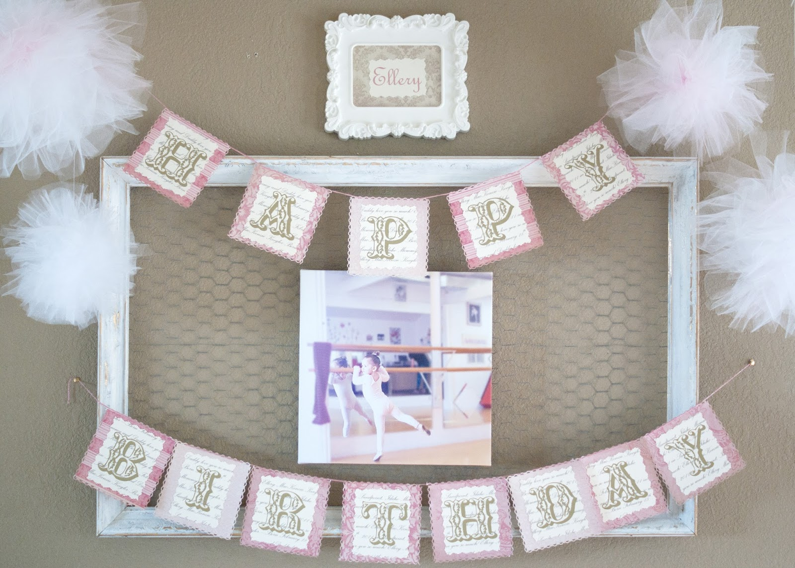 Wire frame, Happy Birthday Bunting and Tulle Pom poms