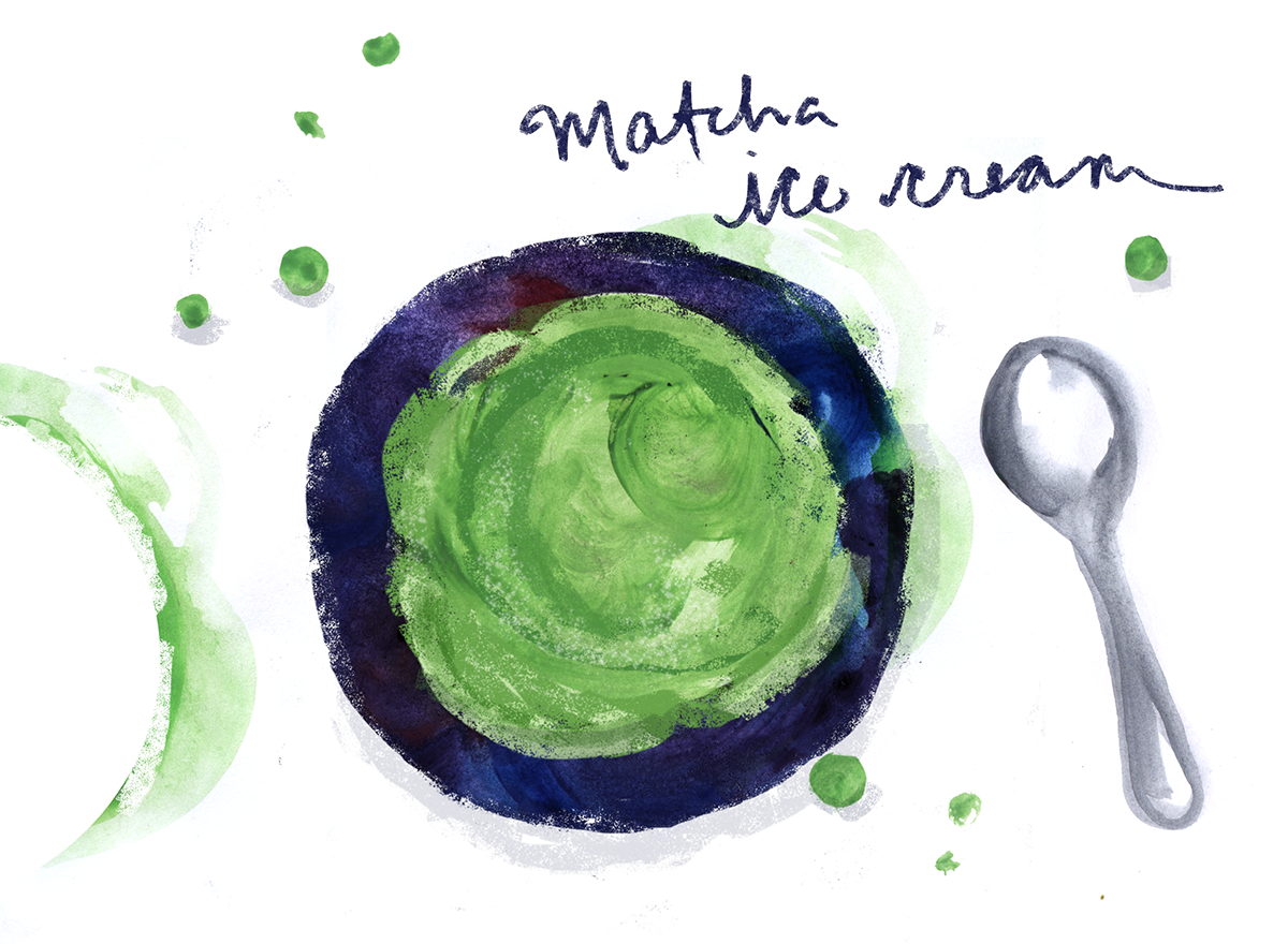 matcha ice cream, lauren monaco illustration
