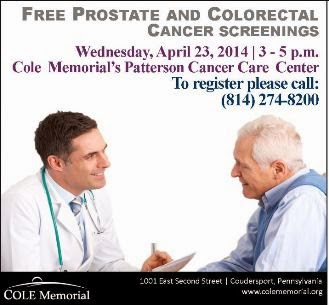 4-23 Free Prostate & Colorectal Cancer Screenings