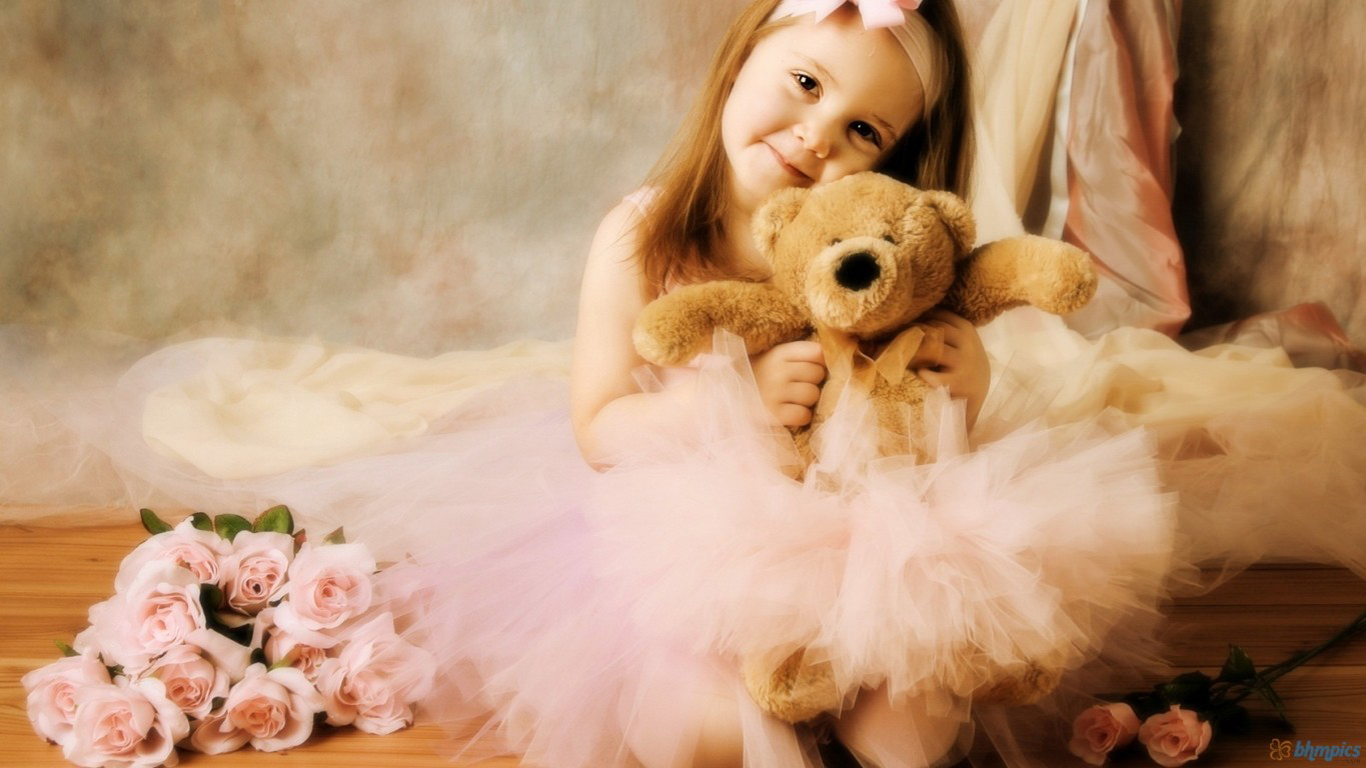 cute little baby girl with teddy bear and rose flowers hd