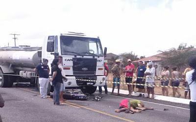 Colisão entre caminhão pipa e moto deixa mais uma vítima da cidade de Camalaú