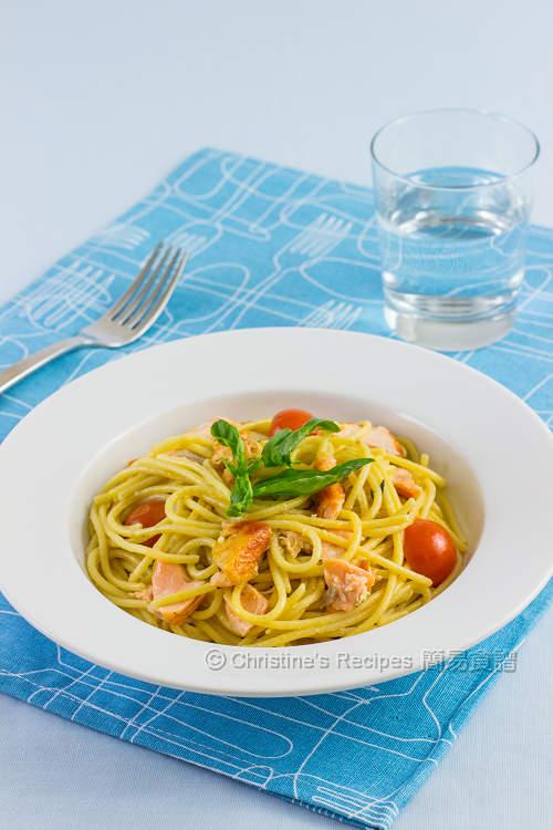三文魚意大利粉配檸檬忌廉汁【美味快餐】 Salmon Spaghetti with Creamy Lemon Sauce