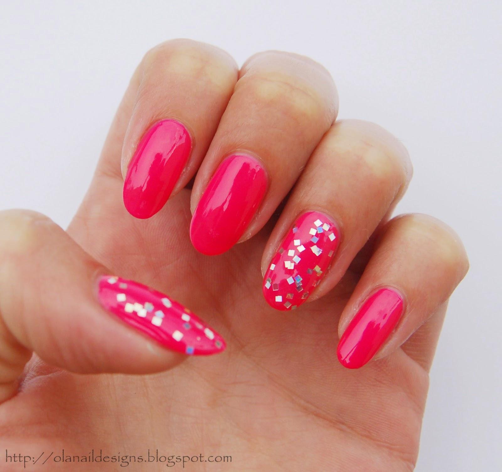 różowo srebrne paznokcie