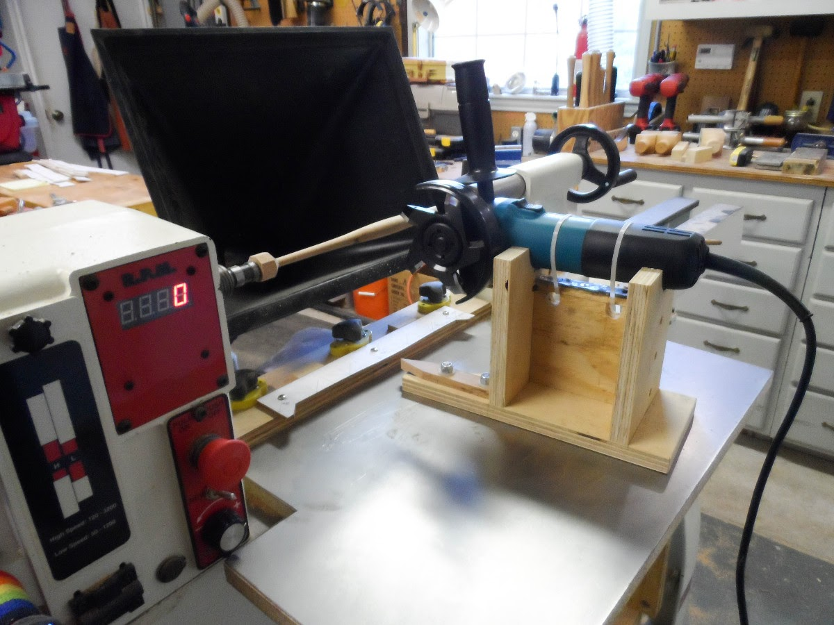 The Sawdust Post Wood Lathe Duplicator With Angle Grinder