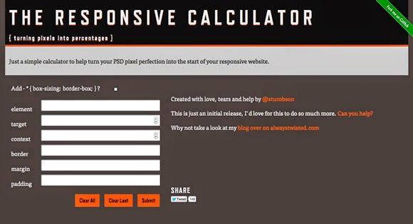 Tools Web Design Professional RWD Calculator