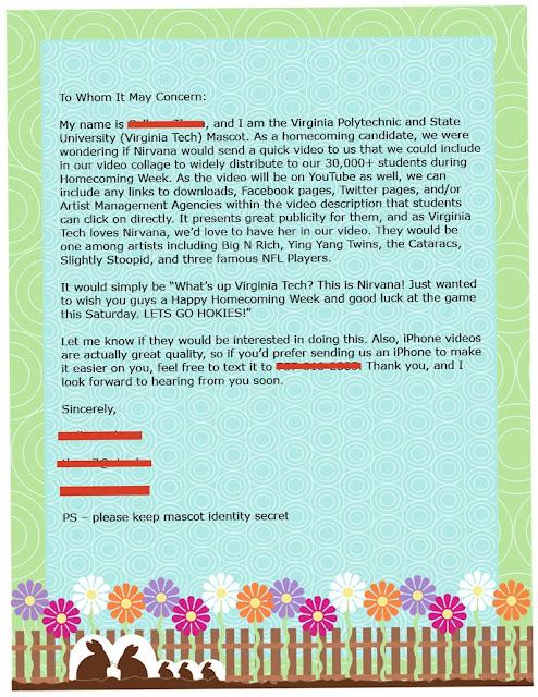 Letter to Nirvana Virginia Tech