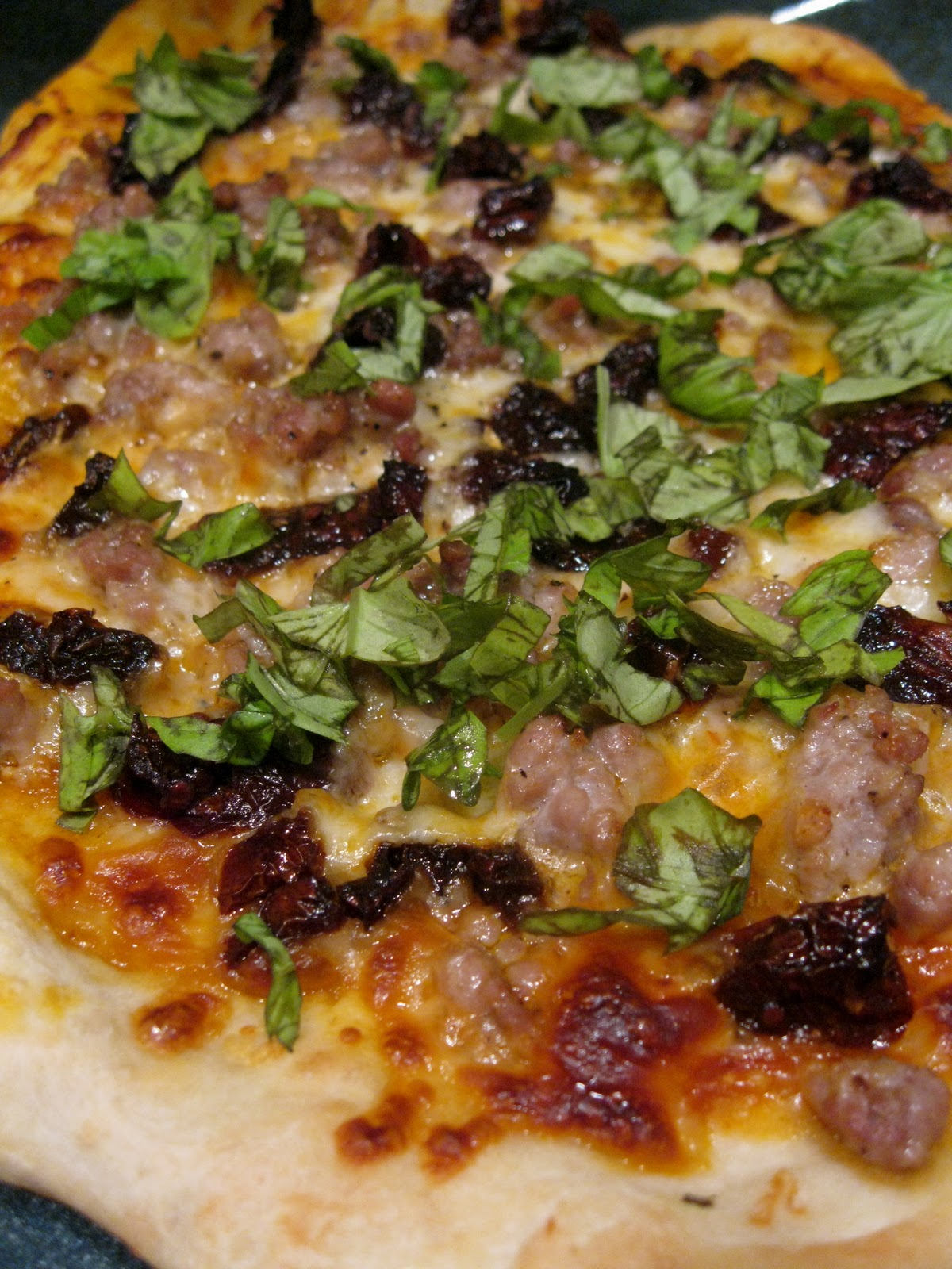 Sausage, Sun-dried Tomato and Basil Pizza