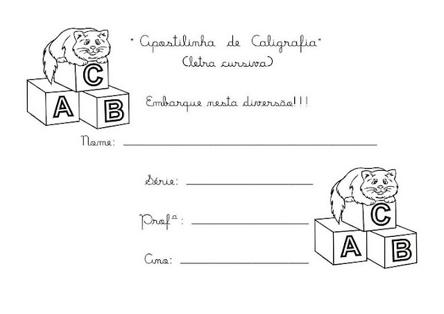 1 - Caligrafia para imprimir e caderno de caligrafia - Atividade Caligrafia