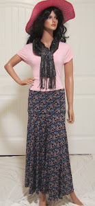 Long Retro Floral Print Maxi in Black with Blue and Purple Flowers