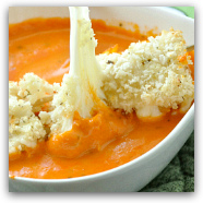 Creamy Tomato Soup with Baked Mozzarella Balls