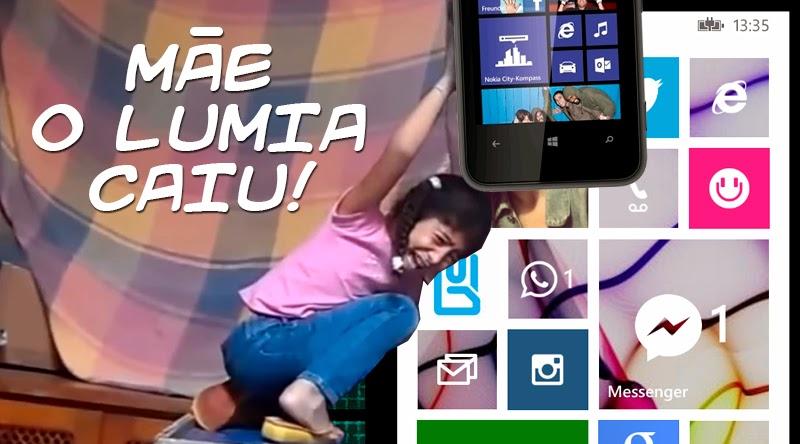 Montagem com a Giovana do forninho e um Lumia 620