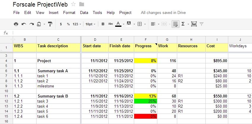 how to show holidays on project management gannt chart