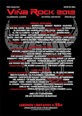 Cartel definitivo y reparto de bandas del Viña Rock 2012