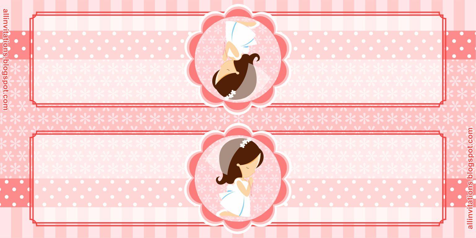 Plantilla para etiqueta de bolsa de dulces para primera comunión de niña