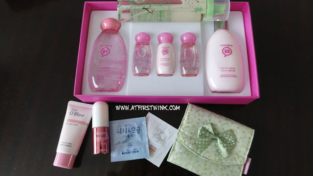 Nanas'B skincare set with freebies (tea tree mist, miniature O'Blee moisture foam cleanser, lip tint, samples and flowery pouch)