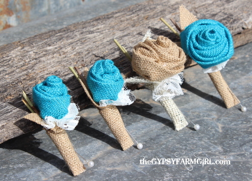 turquoise and tan burlap