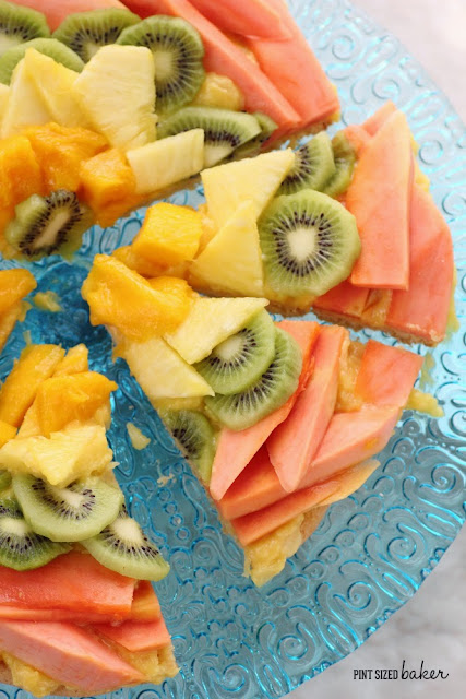 No berries on this fruit pizza. It's all tropical fruits and I love it!