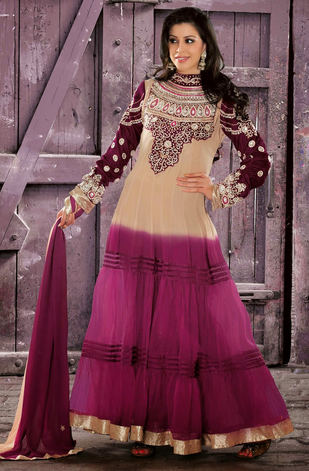 Faux Georgette Beige Designer Embroidery Anarkali Suit with Dupatta