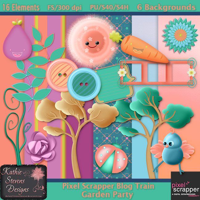 "Free scrapbook ""Garden Party"" from Kathie Stevens"