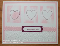 Valentine Card made with Stampin'UP!'s Dotted Scallop Ribbon border Punch and Delicate Designs embossing folder.