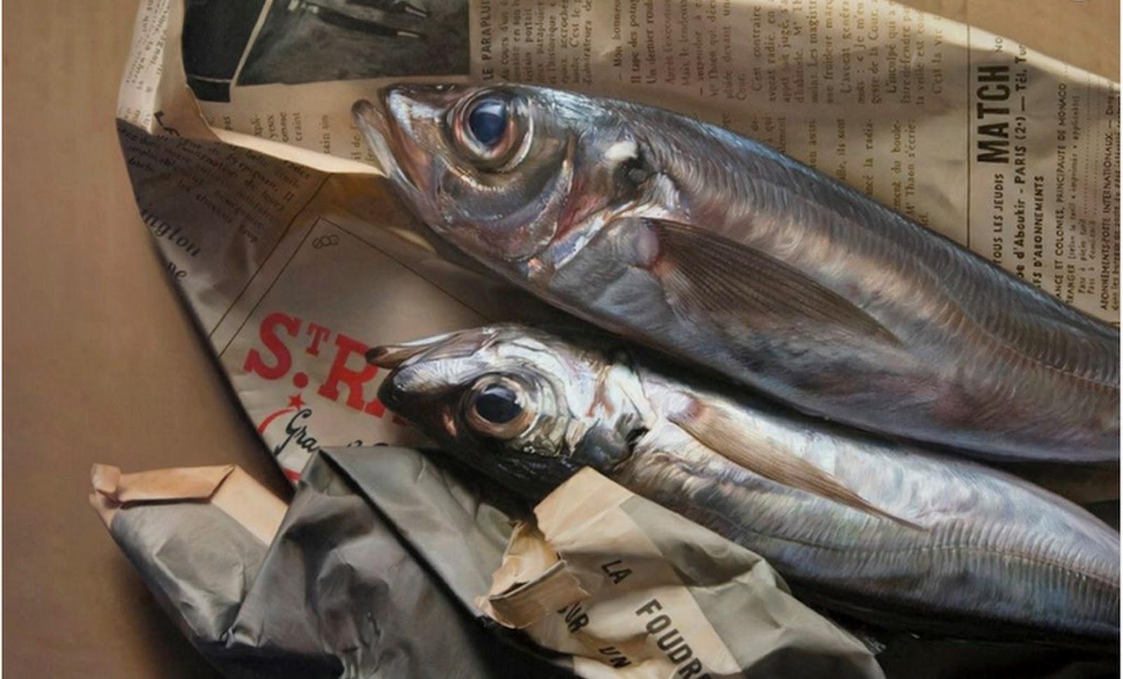 Cuadros modernos pinturas y dibujos bodeg n con pescados for Cuadros de peces