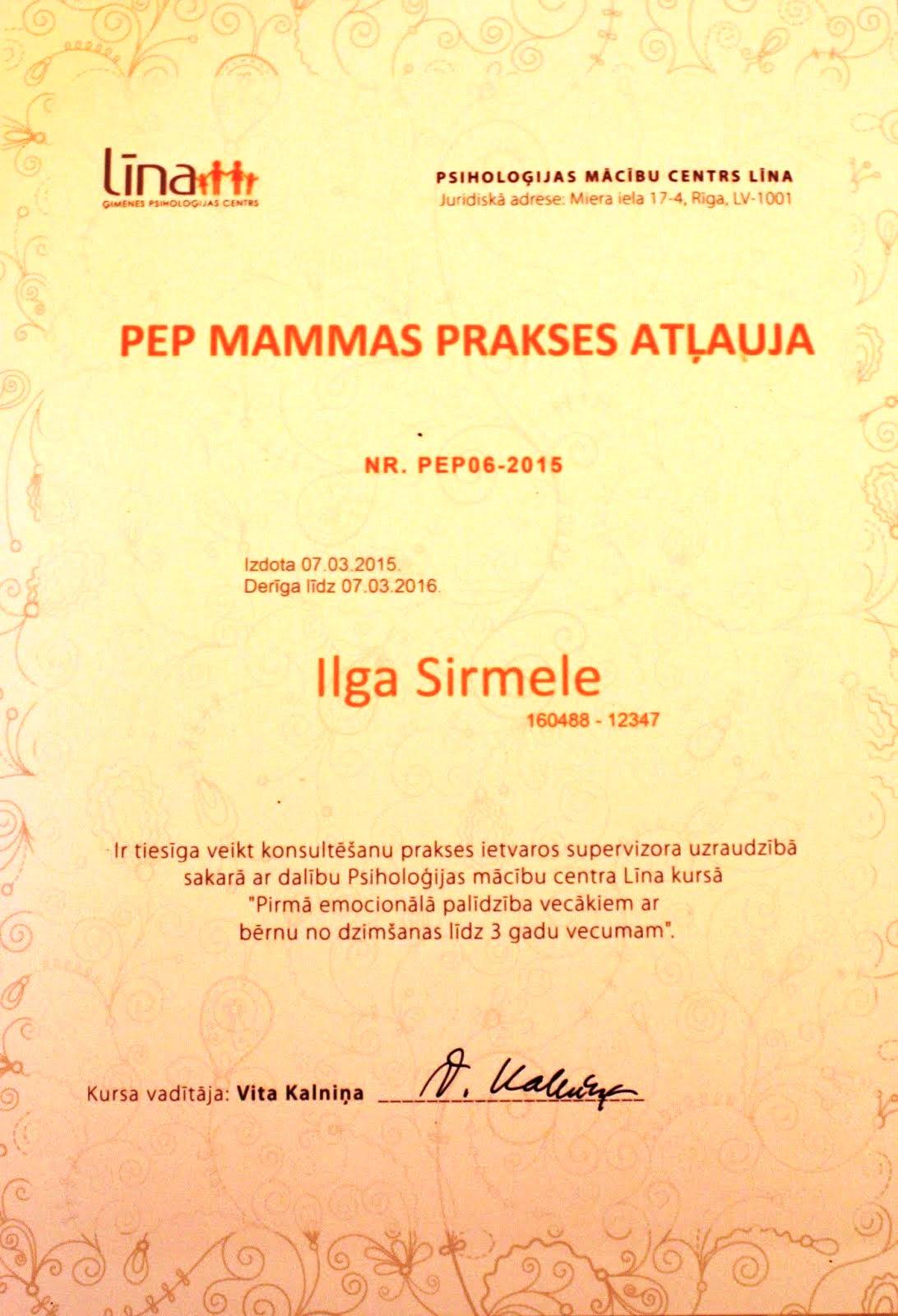 PEP mammas prakses atļauja