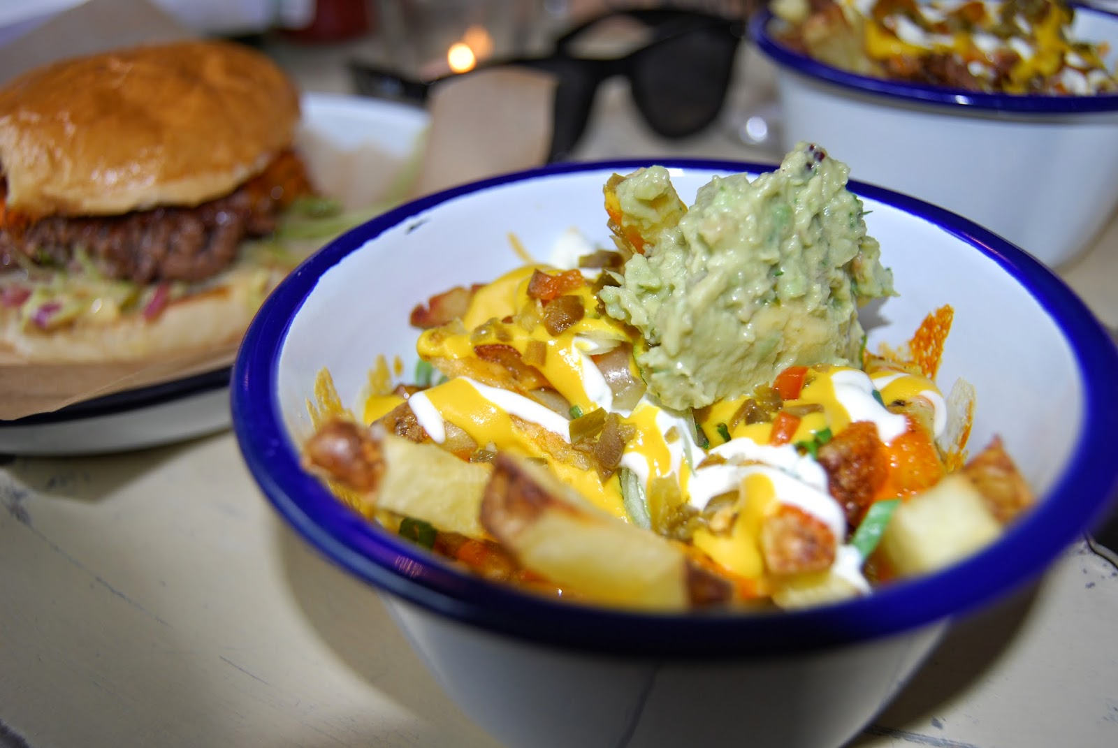 fries, chips, guacamole, avocado, sour cream, jalapeno, cheese